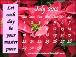 HM3 Free Calendar 2012 July monthly template