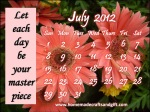 HM7 July Calendar 2012 Monthly template